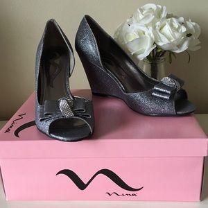 Nina Sparkly Wedge Dress Shoes